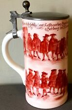 Antique German Images of Many Men in Period Attire Pewter Lidded Beer Stein