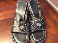 Womens Harley Davidson Black Leather Wedge Sandals 8.5M Studded