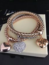 Ladies Gold Silver Rose Gold Stretch Tri Bracelet Heart Charms Jewellery Gift UK