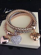 Lussuoso Oro, Argento & Rose Gold Stretch Tri Bracciale con cuore charms