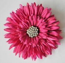 "5"" Fuchsia Pink Gerbera Daisy Rhinestone Silk Flower Hair Clip Handmade"