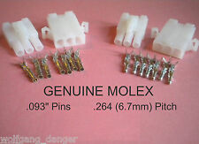 "3 Pin Connectors - 2 Complete Molex  Wire Conn. w/ .093"" pins,   w/ Lock .264"