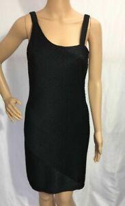 Women's Newport News Easy Style Black Textured Sheath Dress, Size 8 EUC