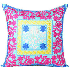 Chic Silky Soft Colorful Embroidered Cushion Cover for Enriching Interior