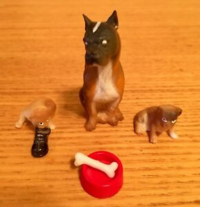 Vintage LUNDBY Dollhouse Dog With Puppies And Bone In Bowl!
