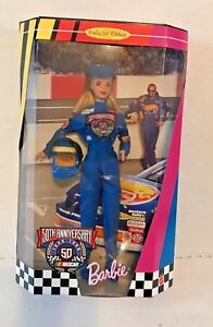 NOS COLLECTOR EDITION 50TH ANNIVERSARY NASCAR BLOND BARBIE DOLL 20442 NRFB 1998