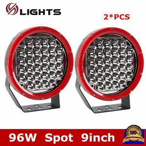 2X Red Round 9Inch 96W Led Driving Spot Work Light 4WD Offroad HID SUV Bumper US