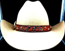 "BROWN HATBAND 1"" Floral LEATHER with TURQUOISE+STAR CONCHOS & CRYSTALS Hat Band"