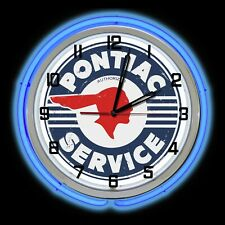 """19"""" Pontiac Service Distressed Sign Blue Double Neon Clock Chevy"""