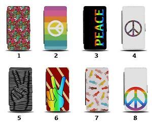 Peace Flip Wallet Case Symbol Love LGBT LGBTQ Pride Symbol Rainbow Shape 8052a