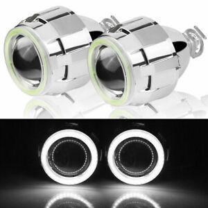 "2X2.5""HID Bi-xenon Projector Lens Angel Eyes White Hi/Low Headlight Retrofit LHD"