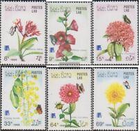 Laos 1098-1103 (kompl.Ausg.) postfrisch 1988 Schmetterlinge und Blumen