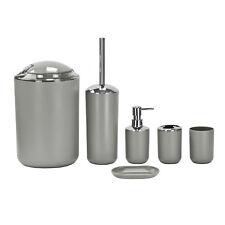 6pc Bathroom Toilet Accessory Set Tumbler Soap Tray Dispenser Bin Toilet Brush