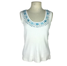 Belldini Womens XL Scoop Neck Tank Sweater Fitted Sleeveless Beaded White Blue