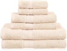 6-pc Towel Set Bamboo & Cotton 2 Bath Towels, 2 Hand, 2 Washcloths Ivory