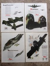 Lockheed and Vega Bomber and Fighter WWII Ads, 4 different
