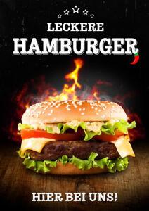 Aufkleber / Plakat / Poster - Hamburger - WERBUNG - versch. Din-Formate Imbiss
