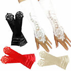 Bridal Party Lady Fingerless Pearl Lace Satin Long Evening Prom Wedding Gloves