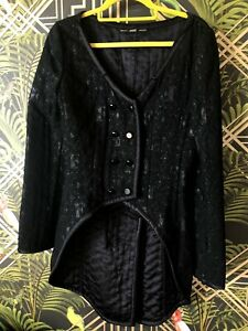 Black Monogrammed Logo GIANFRANCO FERRE Butler Style Trouser Suit UK 8-10