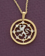 "Scotland Lion Coin Pendant Necklace. Hand cut Scottish Coin - 3/4""dia. ( # 577 )"