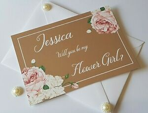 Vintage Will You Be My Bridesmaid Cards Personalised COMPLETE with Envelope