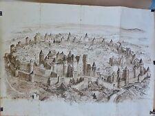 Affiche ancienne lithographique Ch de Fer O M  pour  Carcassonne avant  lettre