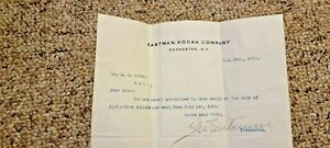 Rare George Eastman Kodak signed typed salary letter A. A Ruttan 1910 No Reserve