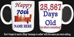 HAPPY 70th BIRTHDAY DAYS OLD MUG, CELEBRATION GIFT PERSONALISED ADD NAME 1951