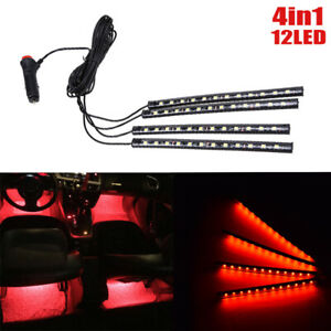 12 LED Red Car Interior Accessories Floor Decorative Atmosphere Lamp Light 4x