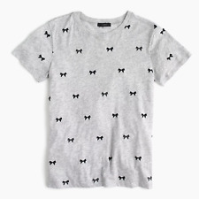 New Womens J.Crew Crew Neck Tee T Shirt Allover bows T-shirt size Large gray