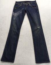 Armani Exchange A/X Petite Size P0 Graphic Wings Distressed Blue Denim Jeans