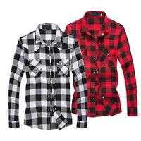 Fashion Mens Button Down Casual Shirts Long Sleeve Plaid Flannel Slim Fit Tops