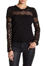 Romeo & Juliet Couture Black Lace Long Sleeve Top, Size S