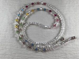 "Swarovski & Czech Bi-Cone PASTEL HUES  27"" Crystal Beaded Eyeglass Chain  USA"