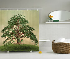 Sage Green Brown Yellow Photo Stand Alone Tree Fabric Shower Curtain