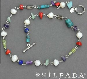 SILPADA 925 Sterling Silver Necklace Turquoise Pearl Lapis Amethyst Coral N1033