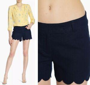 NEW J. Crew Women's Size 2 Scalloped Hem Linen Blend Shorts Navy Blue EUC