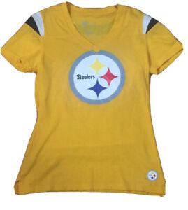 Pittsburgh Steelers NFL Nike Women's V-neck Team Logo Shirt  Yellow (Size: S)