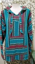 Mexican Poncho Hooded Jacket Blue Red Hoodie Skater Surfer Striped