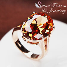 18K Rose Gold Plated Simulated Crystal Large Single Oval Cut Luxury Ring