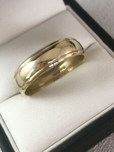 9ct Yellow Gold Grooved Edge 6mm Wide Wedding Band Ring Size W Item ~ A9889