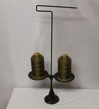 Antique Cast Iron double String Holder with old spools of thread