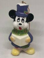 "Vintage Disney Christmas Mickey Mouse Caroling Porcelain Figurine Ornament 3"""