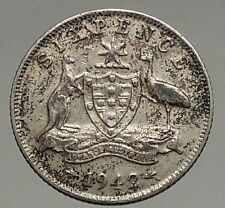 1942 AUSTRALIA - Sixpence SILVER Coin - UK King George VI Coat-of-Arms i56839