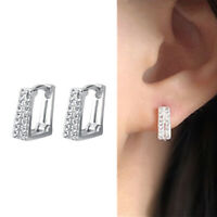 Solid 925 Sterling Silver Double Line Square Paved CZ Cuff Hoop Earrings Unisex