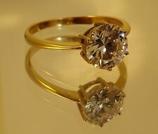 Reduced 9ct Gold White Gemstone Cubic Zirconia Solitaire Ring 2.5ct stone R 1/2