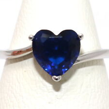 Antique Heart Cut Blue Sapphire Ring Nickel Free Women Jewelry Gift Size 6 to 9