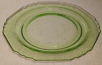 """Vintage Hazel Atlas Florentine 1 Green Vaseline Depression Glass Plate 8.5"""""""