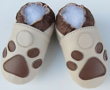 slippers paws beige 12-18 m soft sole baby first walking shoes