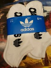 6 Pair Adidas TREFOIL Originals Wick NO SHOW Ankle low Socks WHITE Men Euro 6-12